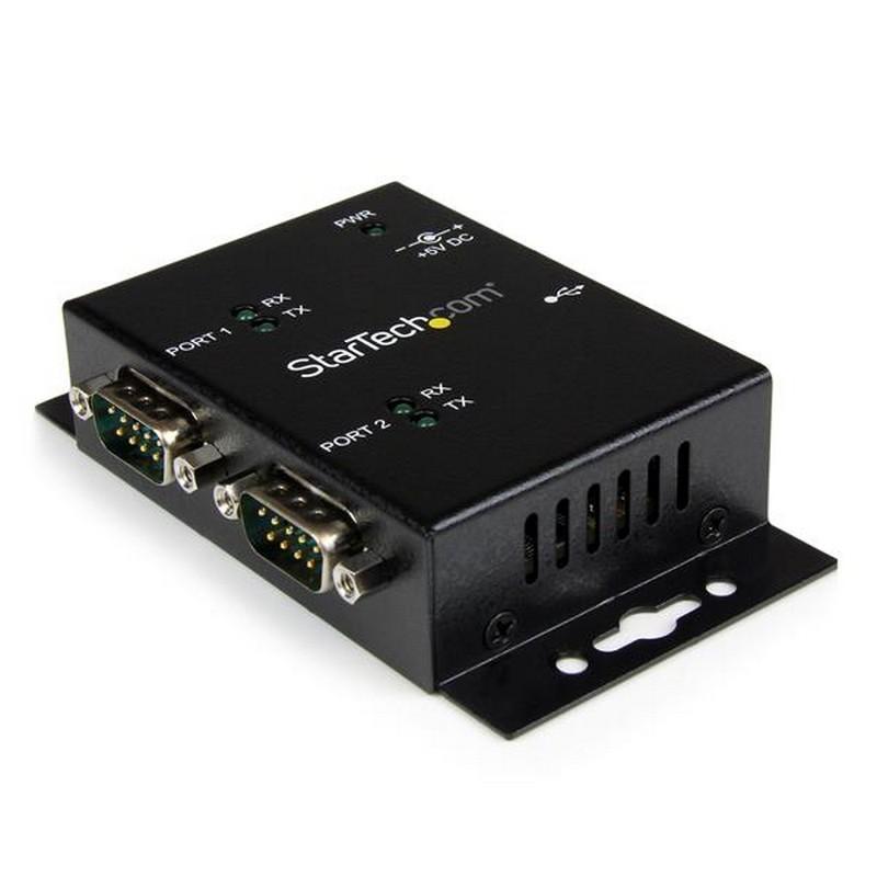 Startech ICUSB2322I Hub Industrial 2 Puertos Serie RS232 A USB Montaje Riel DIN Pared