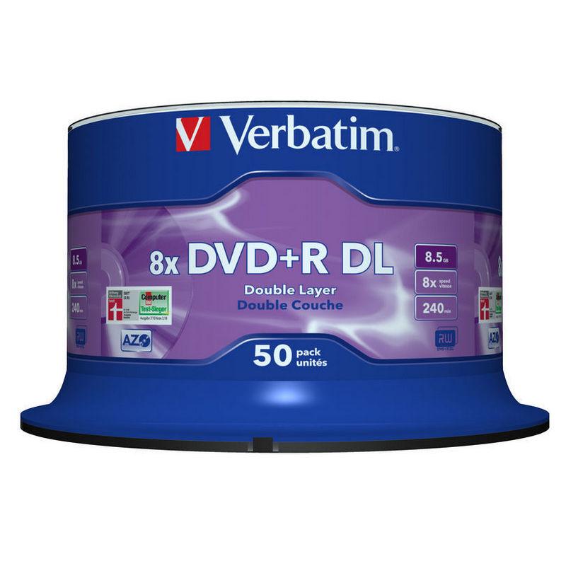 Verbatim DVD+R DL Dual Layer 8x Printable 25 Unids Spindle on
