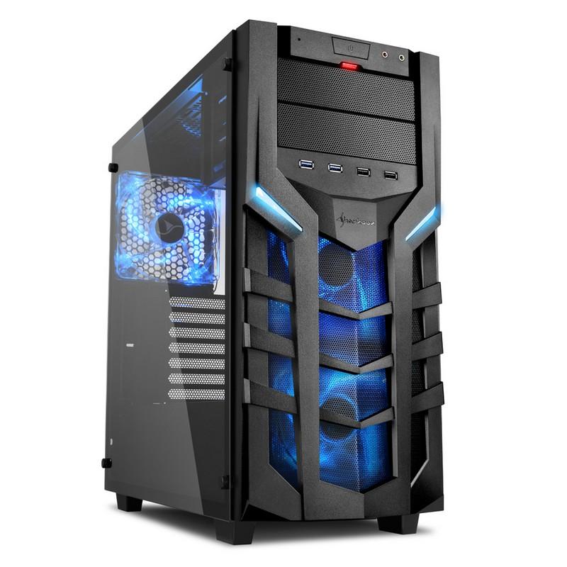 Sharkoon DG7000-G Cristal Templado USB 3.0 Negra/Azul
