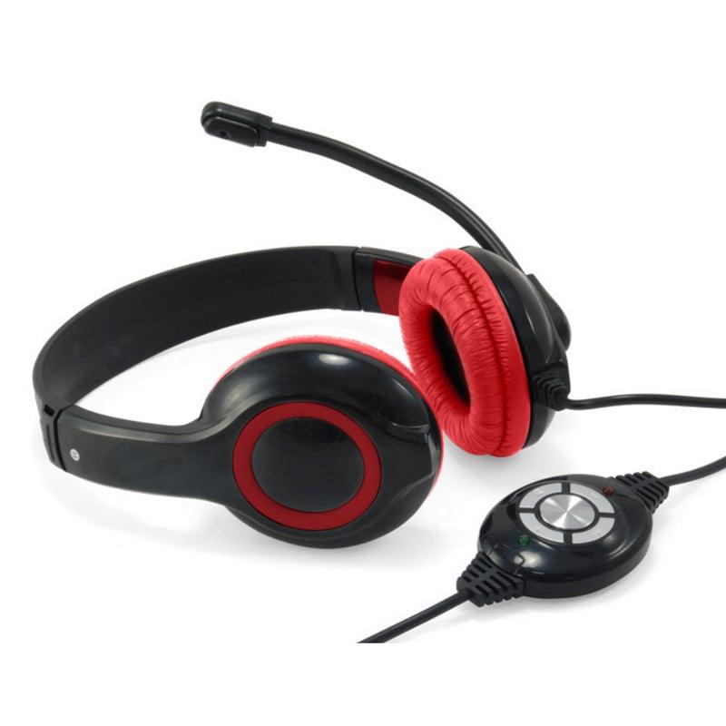 Conceptronic Auriculares USB con Control de Volumen Rojos