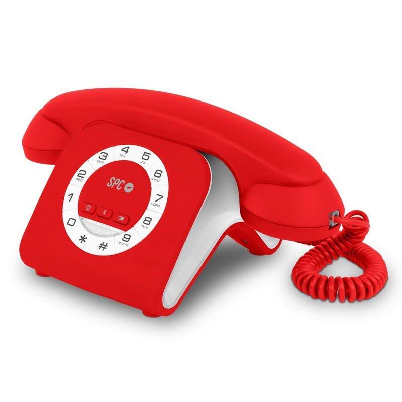 SPC Retro Elegance Mini Teléfono Fijo Rojo