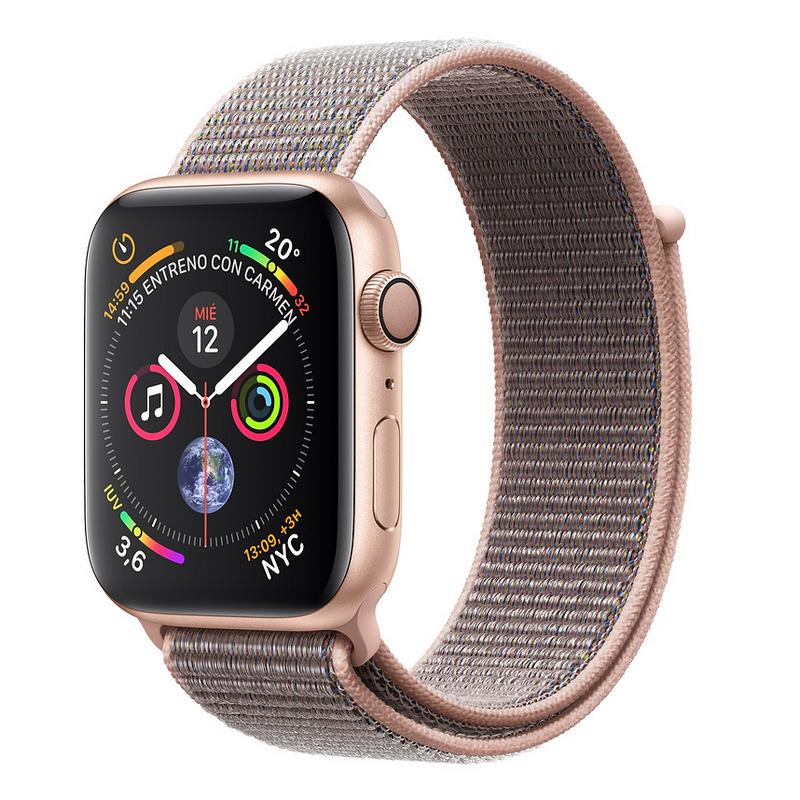 Apple Watch Series 4 GPS 44 mm aluminio en oro correa Loop deportiva rosa arena