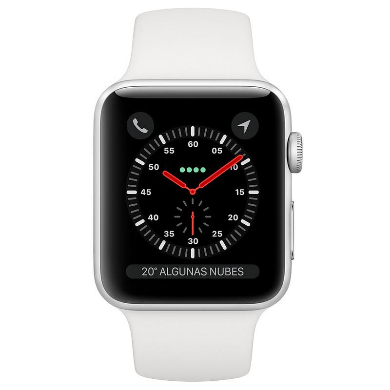 1bc0a037aaa Apple Watch Series 3 GPS + Cellular 42mm Aluminio Plata Con Correa  Deportiva Blanca