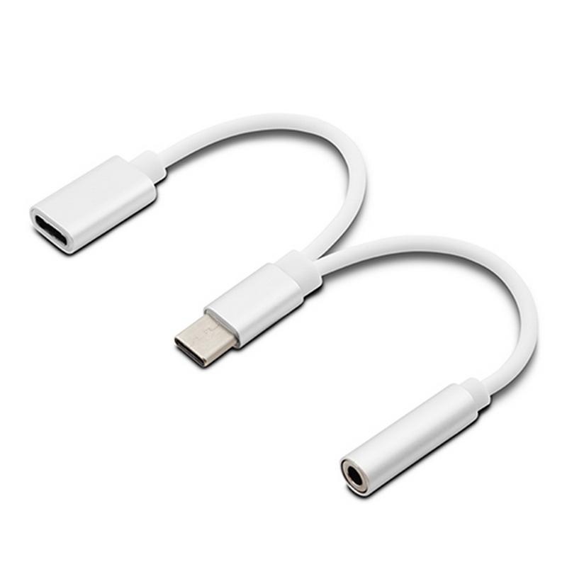 Unotec Cable Adaptador USB-C a USB-C/Audio Jack 20cm Blanco