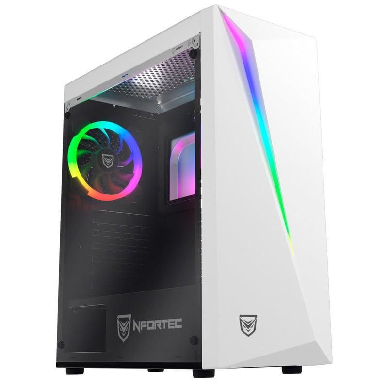 Nfortec Lynx Cristal Templado USB 3.0 RGB Blanco