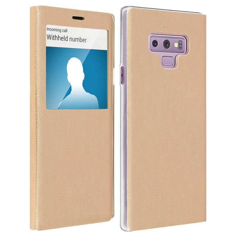 de9696299db Avizar Funda Libro con Ventana Dorada para Samsung Galaxy Note 9