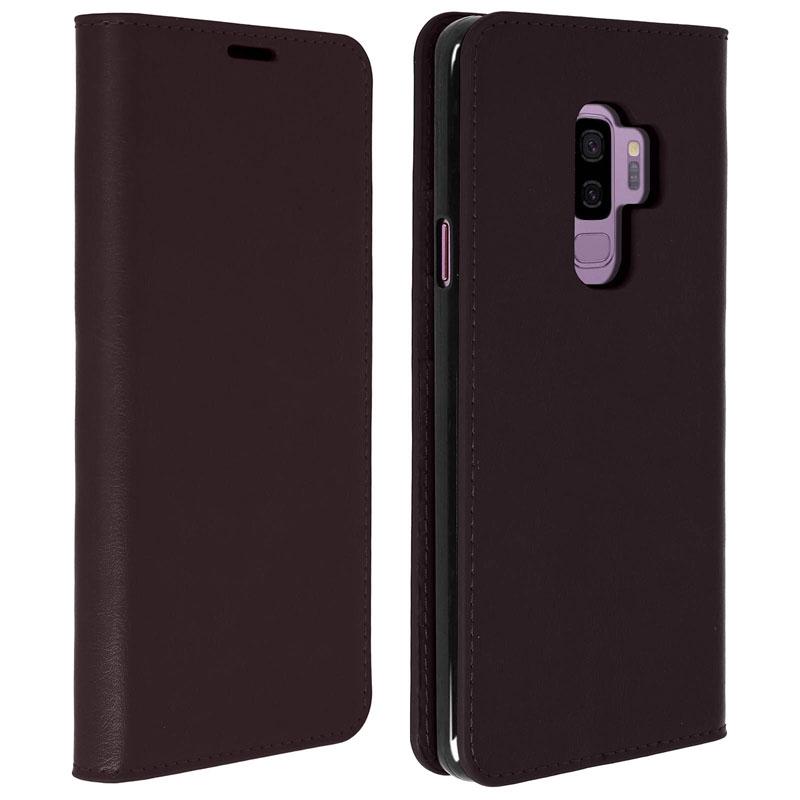 Avizar Funda Libro Cartera de Cuero Marrón para Samsung Galaxy S9 Plus