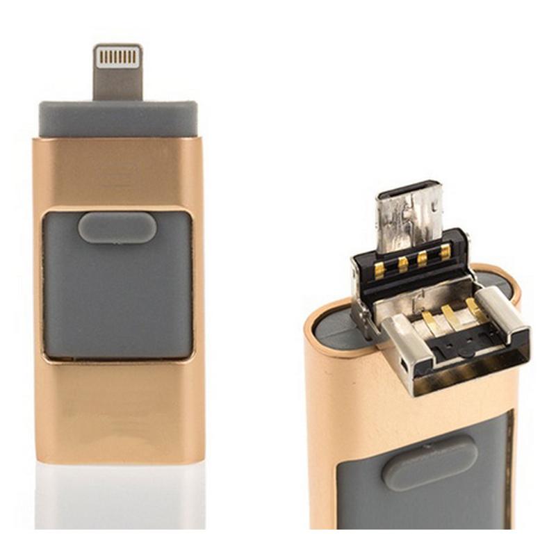 Ital i-Flash OTG 16GB USB/Micro USB/Lightning Dorado