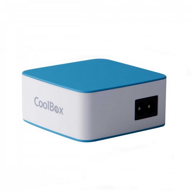 CoolBox RubberTouch Cargador De Pared USB RT-5 Blanco/Azul