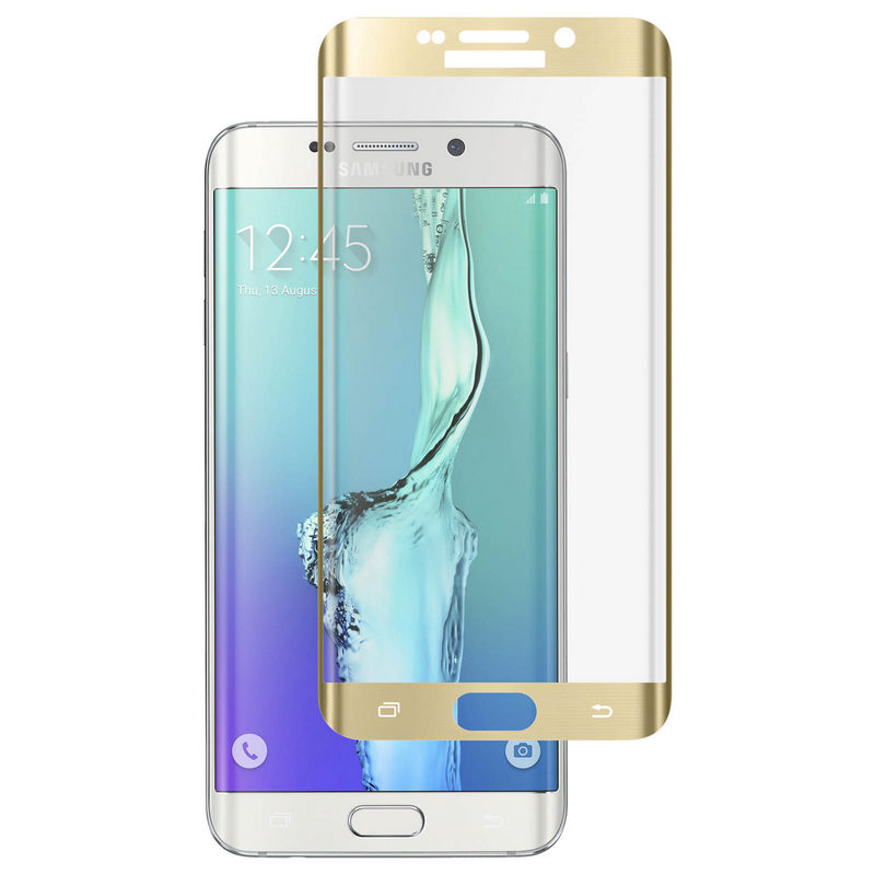0b691547a8b Avizar Protector Cristal Templado Curvo Borde Dorado para Samsung Galaxy S6  Edge Plus