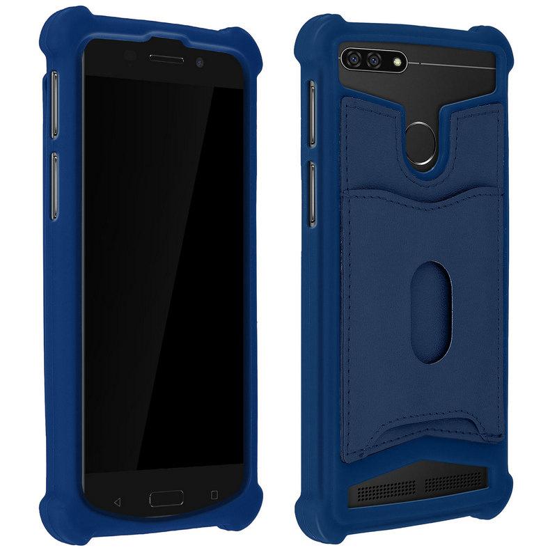 """Avizar Funda de Silicona con Cartera Azul para Smartphones 5.3"""" a 5.5"""""""
