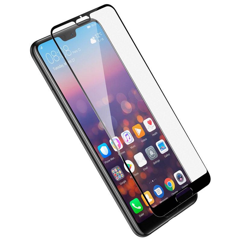 Avizar Protector Cristal Templado Borde Negro para Huawei P20