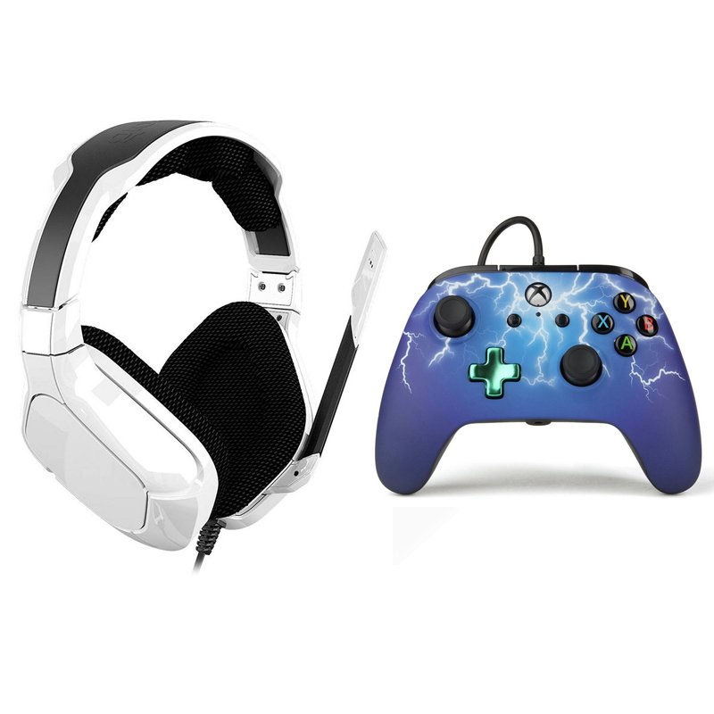 Power A Pack Gioteck SX6 Storm Auriculares Gaming + Spider Lightning Mando con Cable para Xbox One