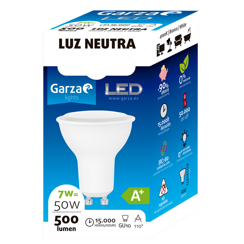 Garza Bombilla LED 7W GU10 Blanco