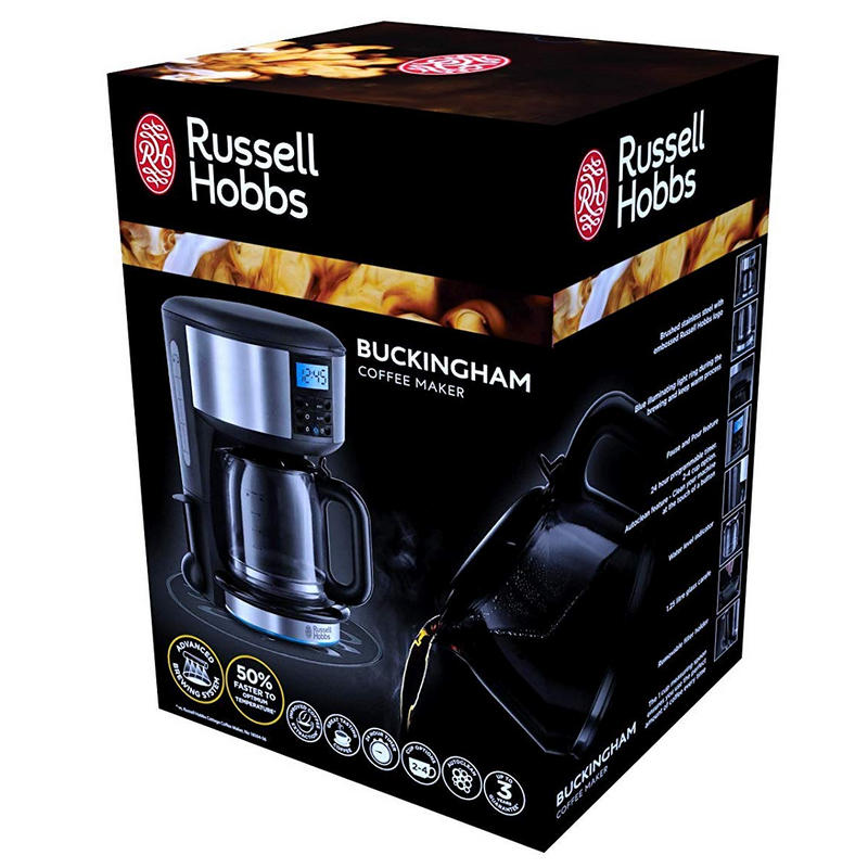 Color Negro y Plateado Acero Inoxidable 1,25 L Russell Hobbs 20680 Buckingham-Cafetera de Filtro