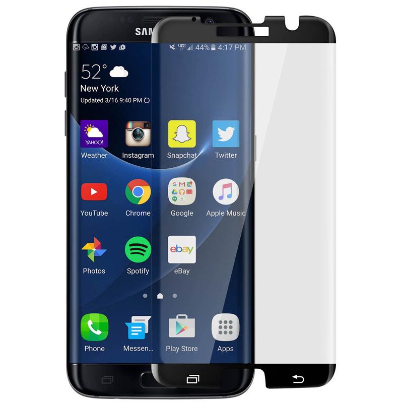 Avizar Protector de Pantalla de Cristal Templado Bordes Curvados Negros para Samsung Galaxy S7 Edge
