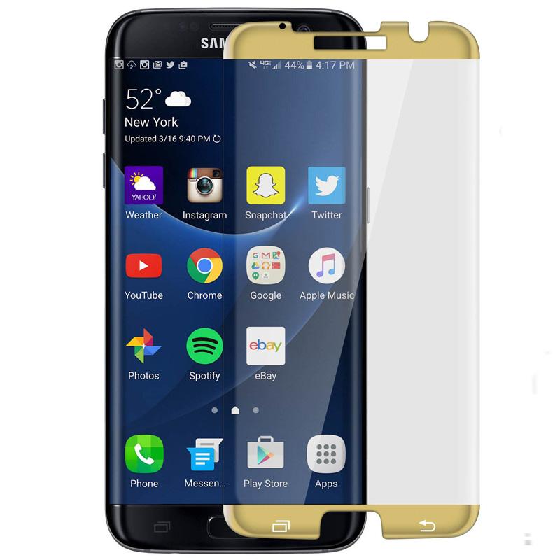 Avizar Protector de Pantalla de Cristal Templado Ultrafino Bordes Curvados Dorados para Samsung Galaxy S7 Edge