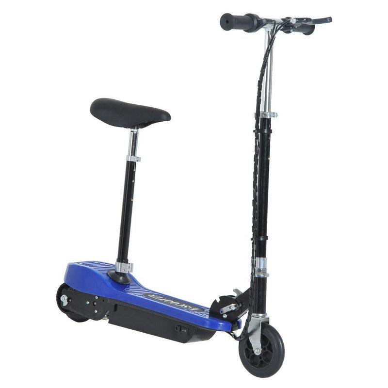Patiente eléctrico HomCom Scooter Patinete Eléctrico Plegable con Manillar y Asiento Ajustable Azul