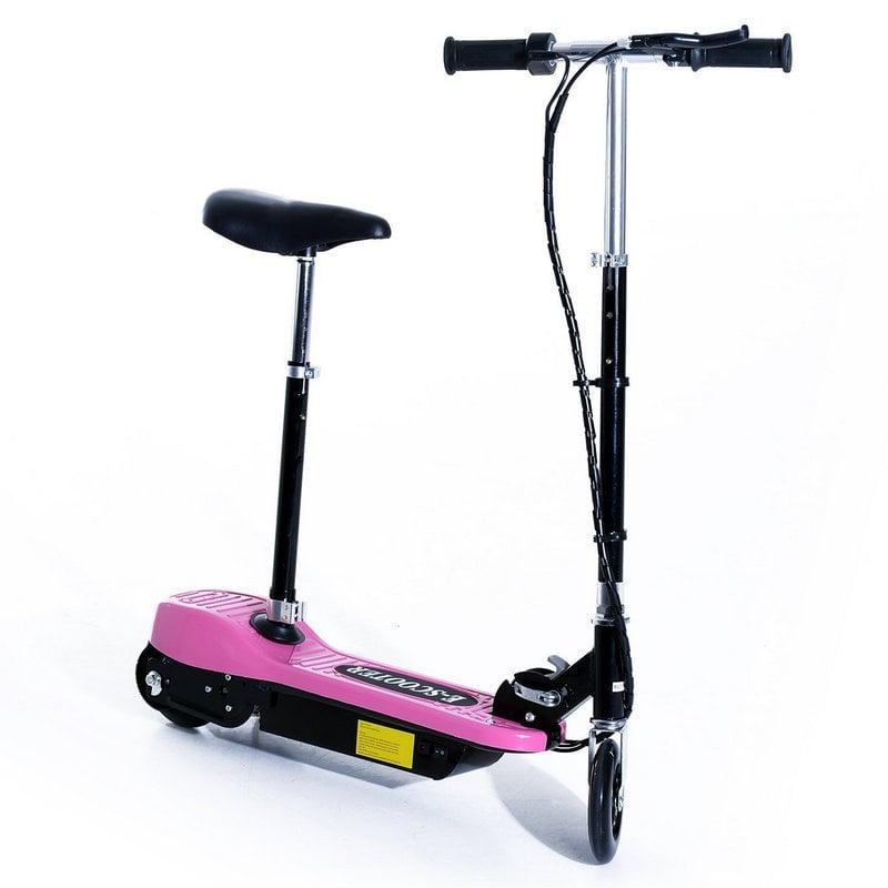 Patiente eléctrico HomCom Scooter Patinete Eléctrico Plegable con Manillar y Asiento Ajustable Rosa