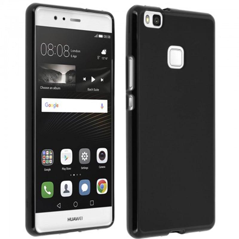 Avizar Funda Protectora de Silicona Negra Flexible para Huawei P9 Lite