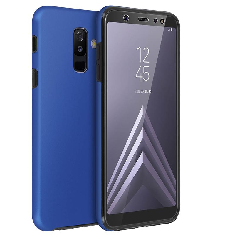 Avizar Funda Protectora de Silicona y Policarbonato Protección Total Azul para Samsung Galaxy A6 Plus