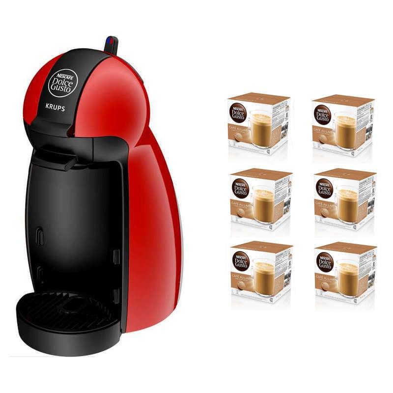Krups Piccolo Cafetera Dolce Gusto Roja + Pack de 6 Nescafé
