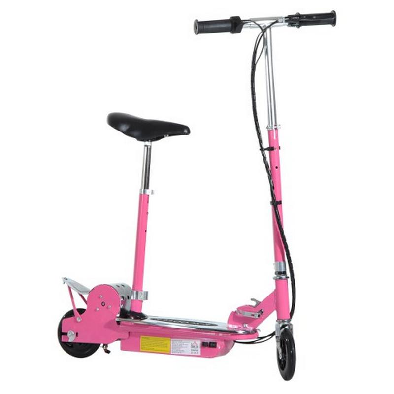Patiente eléctrico HomCom Scooter Patinete Eléctrico Plegable con Manillar Rosa
