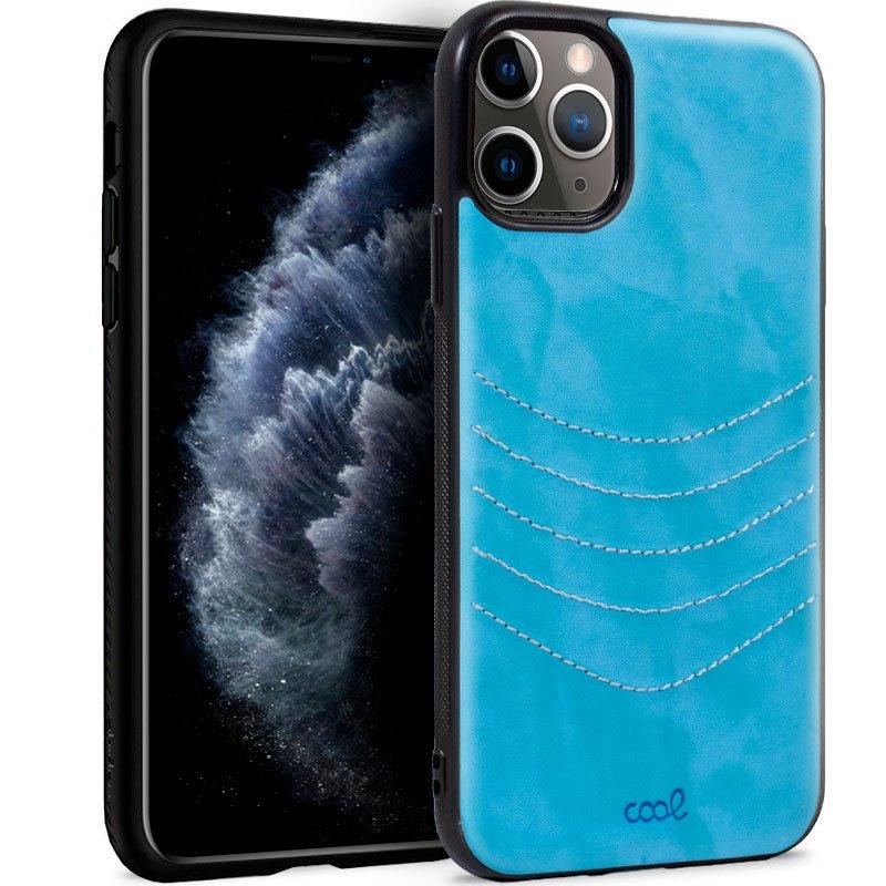 Cool Carcasa Leather Bordado Celeste Para IPhone 11 Pro