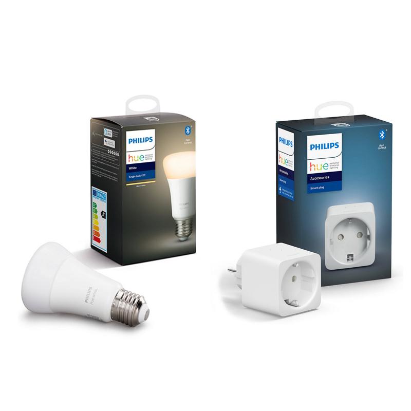 Philips Hue White Pack Bombilla LED Inteligente E27 9W Blanco Cálido + Enchufe Inteligente