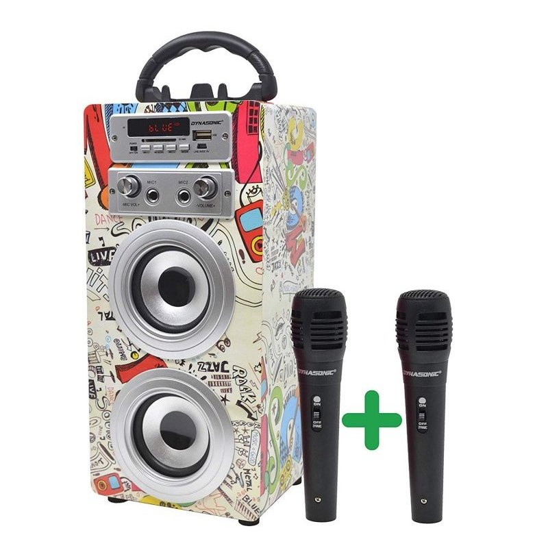 Dynasonic Karaoke 025 Altavoz Bluetooth con Karaoke y 2 Micrófonos Graffiti