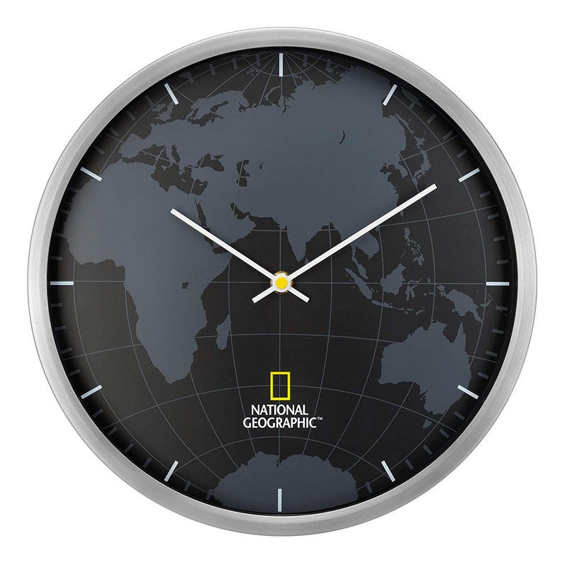national geographic reloj de pared mapamundi 30cm