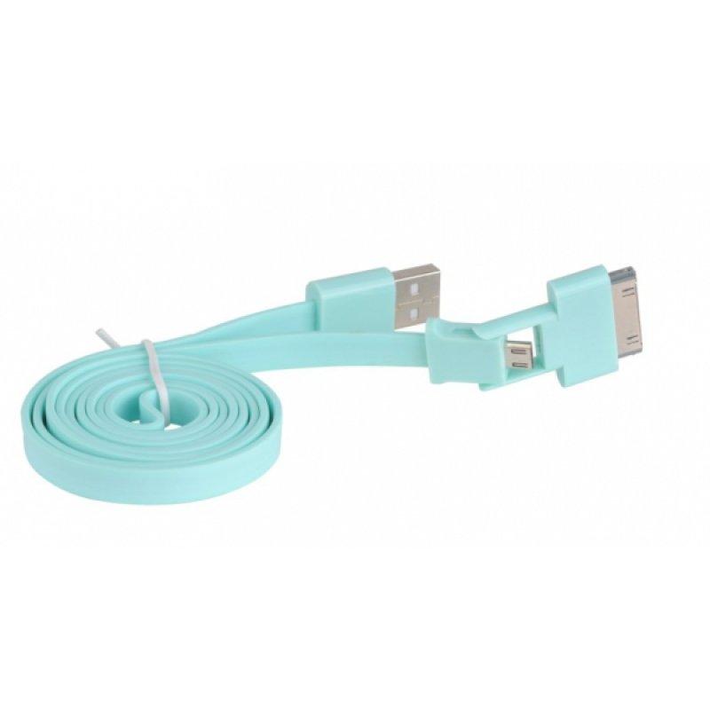 3Go Cable Plano 2 en 1 USB a Micro USB/Apple 30 pines 1m Azul Turquesa