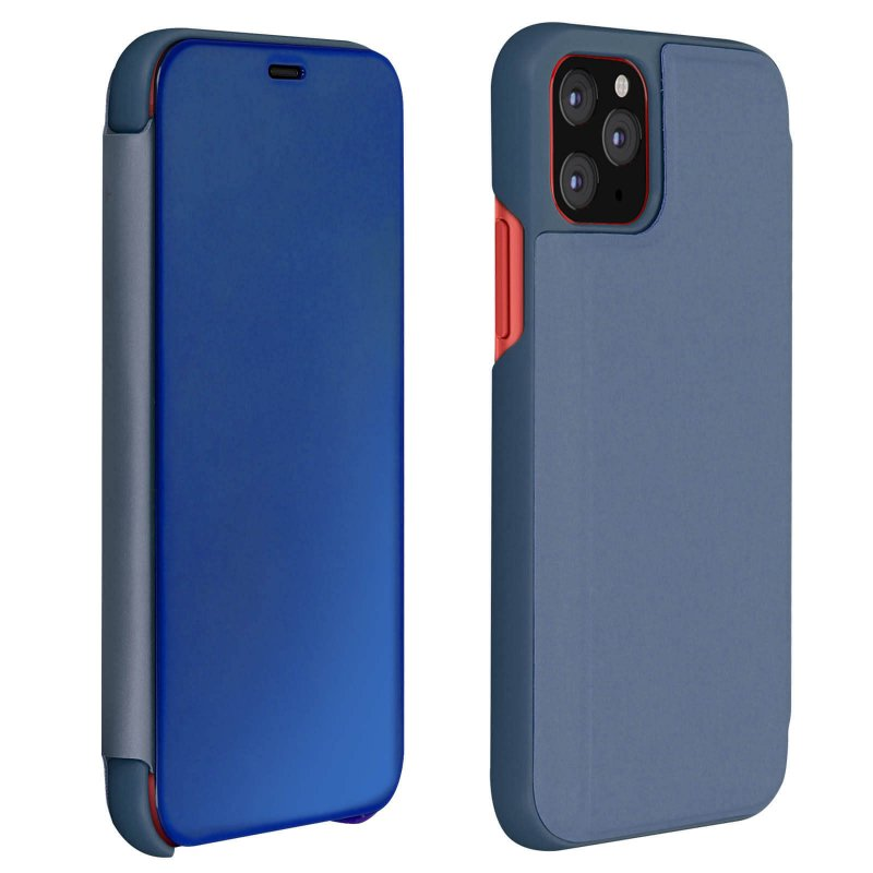 Avizar Funda Libro Translúcida Efecto Espejo Azul para iPhone 11 Pro Max