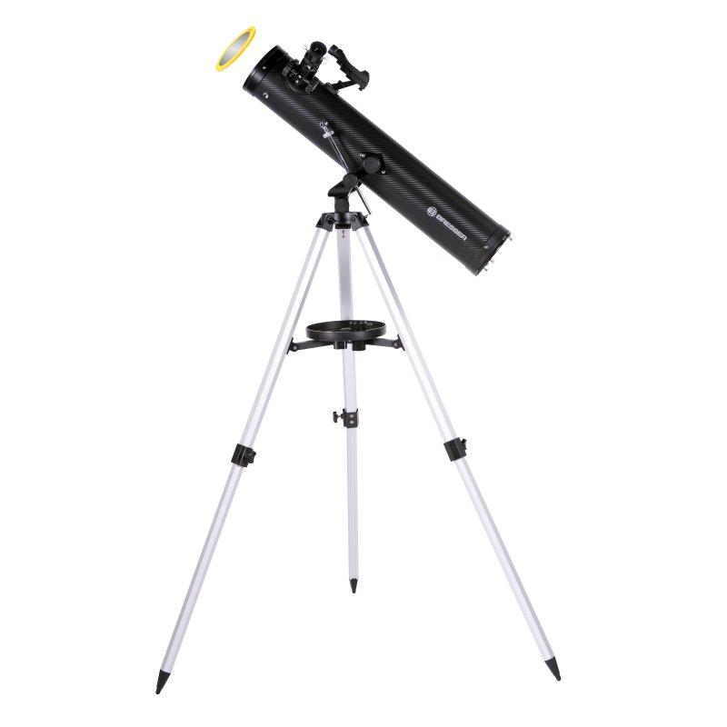 Bresser Venus Telescopio Reflector 76/700 AZ con Filtro Solar y Adaptador para Móvil
