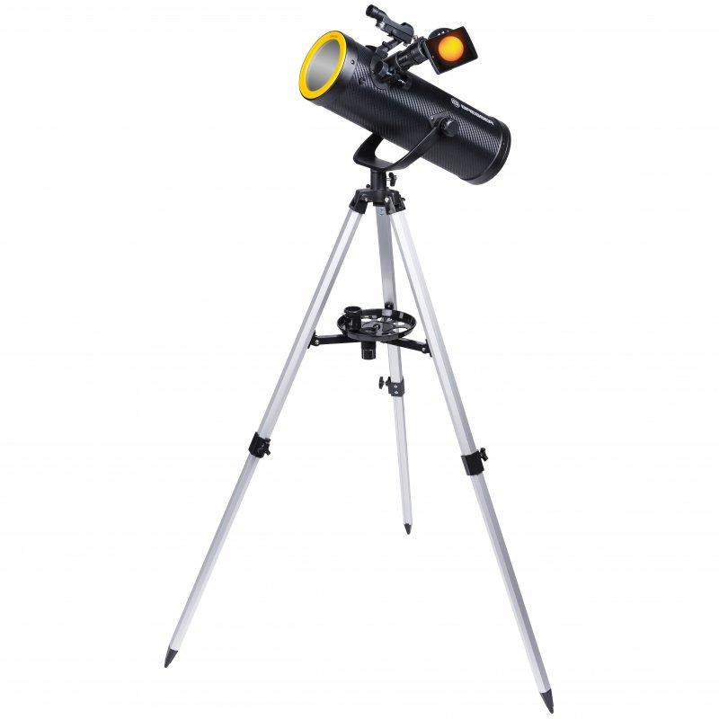 Bresser Solarix Telescopio Reflector 114/500 AZ con Filtro Solar y Adaptador para Móvil