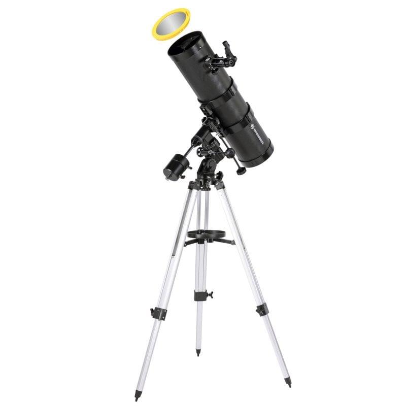 Bresser Pollux Telescopio Reflector 150/1400 EQ3 con Filtro Solar y Adaptador para Móvil