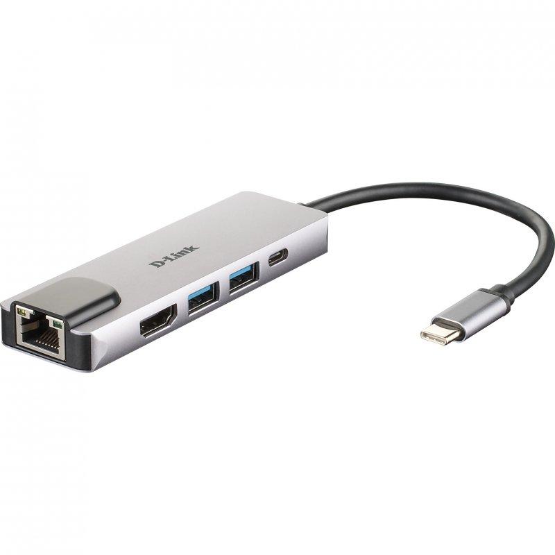 D-Link DUB-M520 Hub 5 en 1 HDMI 4K/RJ45/USB 3.0/USB-C