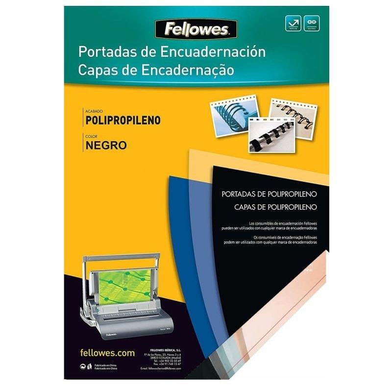 Fellowes Packde 100 Portadas Negras de Polipropileno 500 Micras