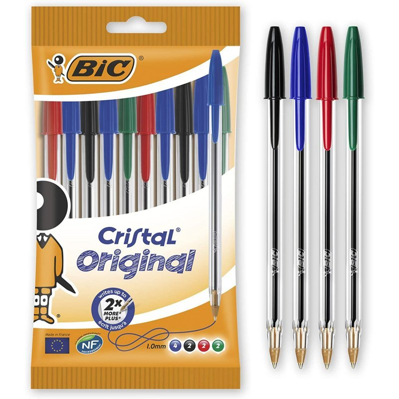 Bic Cristal Original Blister De 10 Bolígrafos Azul/Negro/Rojo/Verde