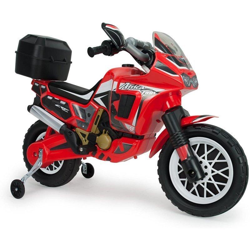 Injusa Moto Eléctrica África Twin 6V con Maletín Trasero y Ruedas Estabilizadoras Roja
