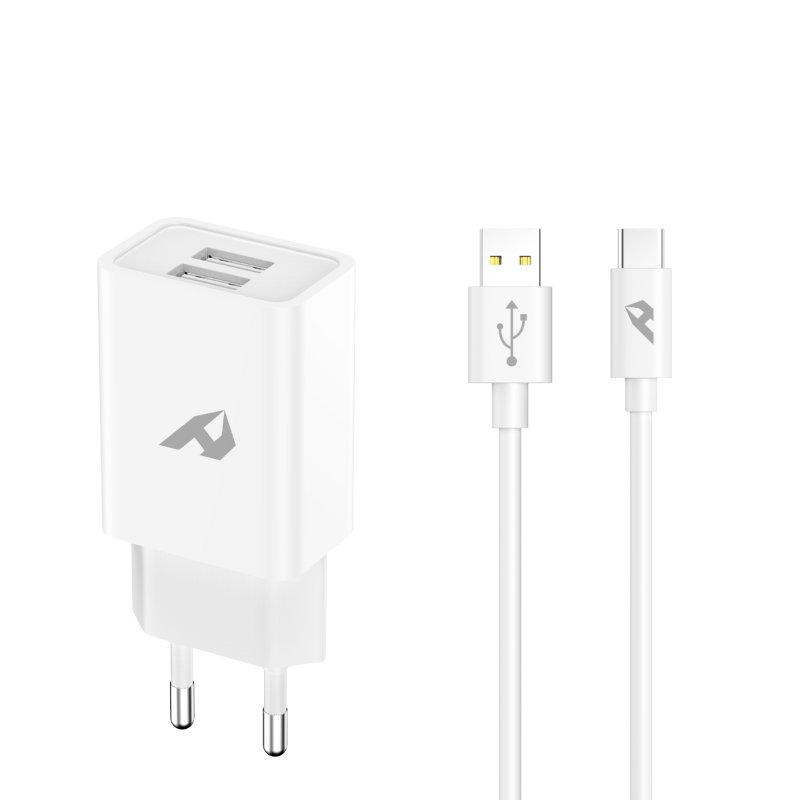 Home Cargador 2x USB 5V 2.4A + Cable USB-C Blanco