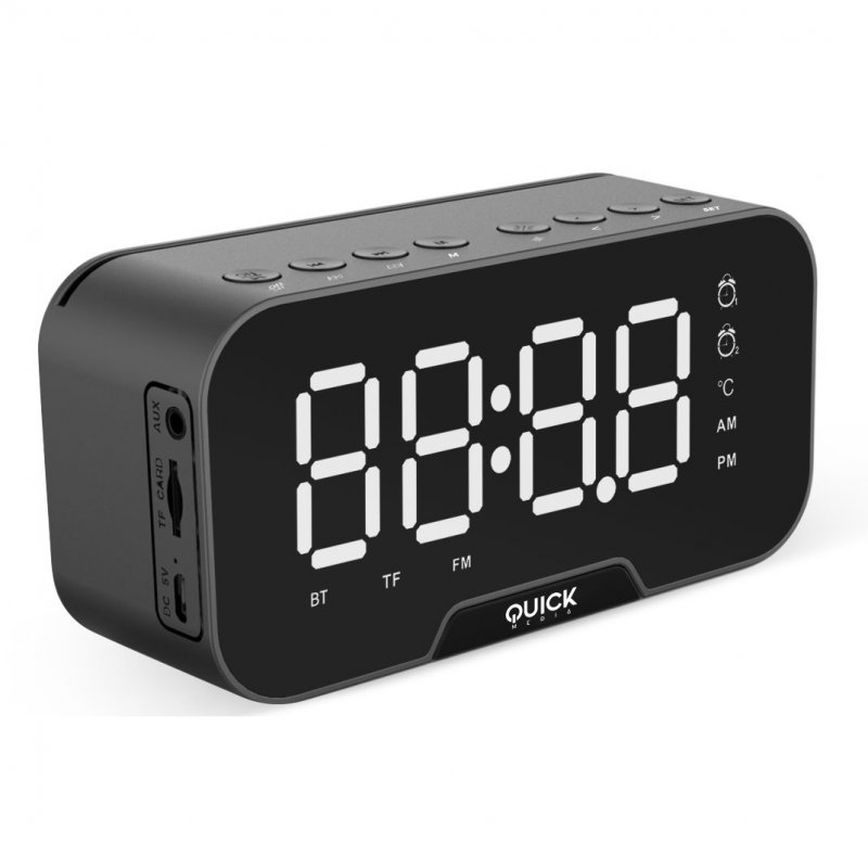 Quick Media Radio FM/AM-Reloj-Despertador Altavoz Bluetooth