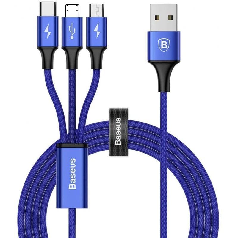 Baseus Cable USB-A A USB Tipo-C + Micro USB + Ligthing 1.2m Azul