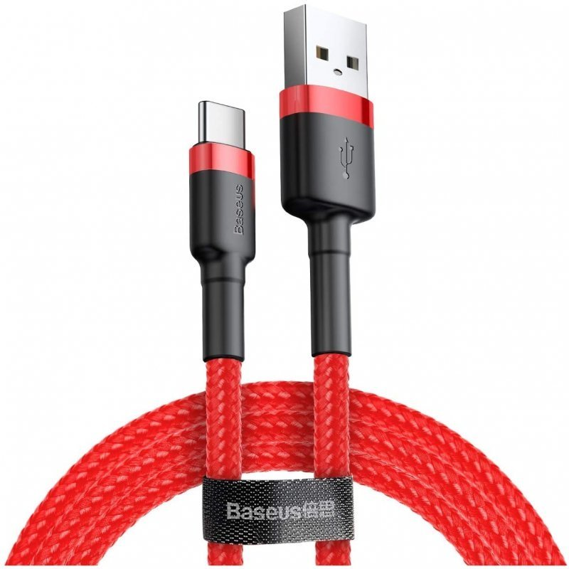 Baseus Cable USB Tipo-C Carga Rápida 3.0 5V/3A 1m Rojo