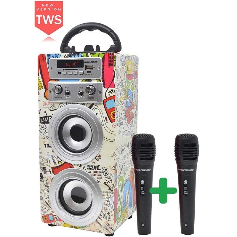 Dynasonic Karaoke 025 Altavoz Bluetooth TWS con Karaoke y 2 Micrófonos Graffiti