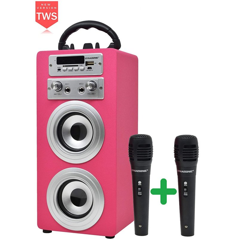 Dynasonic Karaoke 025 Altavoz Bluetooth TWS con Karaoke y 2 Micrófonos Rosa