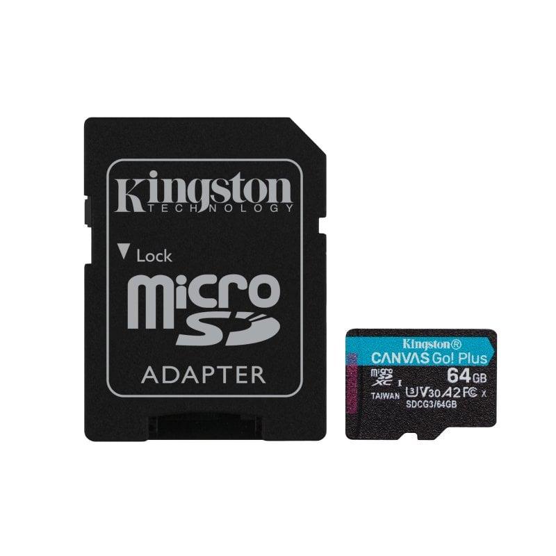 Kingston Canvas Go Plus MicroSDXC 64GB UHS-I U3 V30 Clase 10 + Adaptador SD