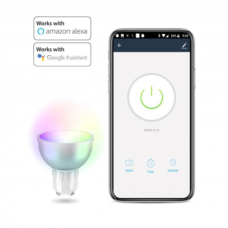 Unotec Bombilla LED WiFi 5W RGB GU10 Compatible con Alexa y Google home