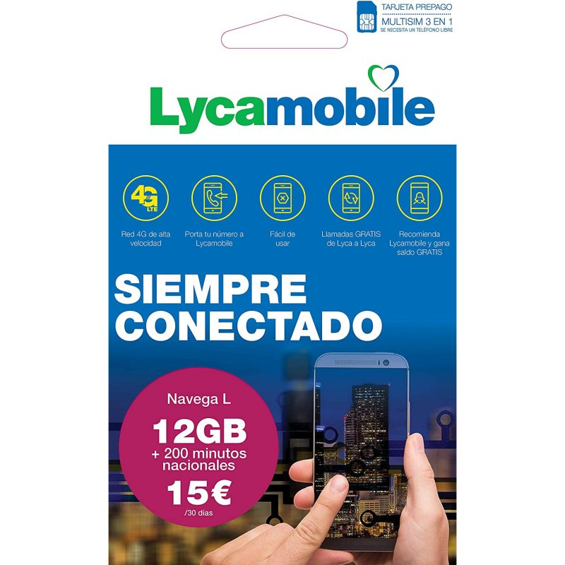 Lycamobile Tarjeta Prepago Multi SIM Plan Nacional Navega L 12GB Datos + 200 Minutos Llamadas