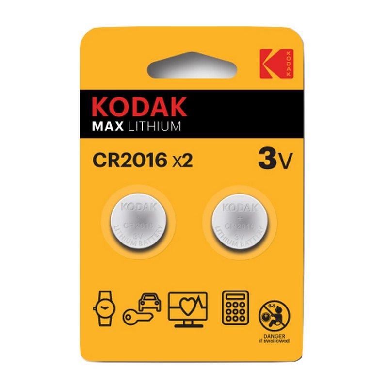 Kodak Max Pack 2 Pilas Botón Litio CR2016 3V